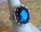 To Thine Own Self Be True - Ring - Vintage Navy Blue Glass - Silver Adjustable Ring - Jewelry by HoneyNest