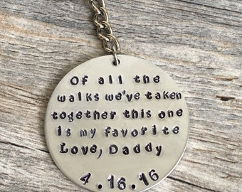 father of the bride gift, gift from dad, wedding day gift from dad, to daughter from dad, dad gift, thank you for walking me down the aisle