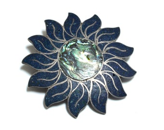 Mexican Sterling Silver & Abalone Sunflower Pin or Pendant