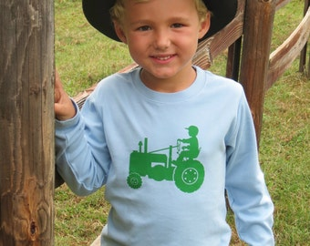 Tot on a Tractor Long Sleeved Crew Shirt by Nostalgic Graphic Tees - Sky with Grass Green