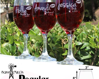 Bridesmaid Glass, Personalized Bridesmaid Gift, Will you be my Bridesmaid, Custom Wine Glasses, Stemless Wine Glasses, Bridal Shower Favors