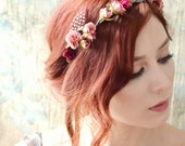 Boho flower head piece, Rosebud crown, Pink flower crown, Floral headband, Feather headpiece, Hair accessories by Gardens of Whimsy on Etsy