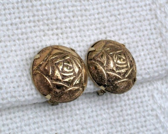 Japan Clip Earrings Signed Vintage 60s Costume Jewelry Goldtone Roses