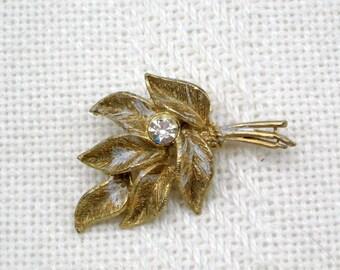 Rhinestone Brooch Pin Vintage 60s Costume Jewelry Frosty Leaf Bouquet