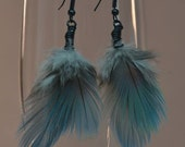 Feather Dangle Earrings, Caribbean Blue Feathers, Lightweight Earrings, Elegant, Boho, Hippie, Feather Earrings, Blue Feather Earrings