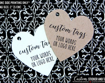 "36 custom heart tags 2"", personalized wedding tags, party favor tags, gift tag with twine, logo tags, product tags, hang tag (T-54)"