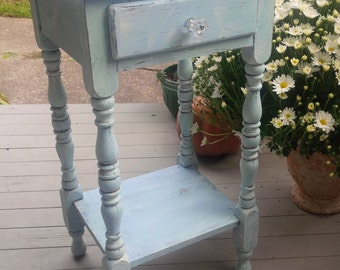 Cottage Nightstand Vintage Bedside Table Poppy Cottage Painted Furniture Weathered Beach Finish