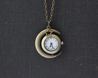 Crescent Moon Watch Necklace. Space Jewelry. Moon Jewelry