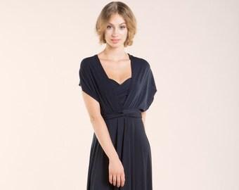 Navy Blue short Infinity Dress, Infinity Dress, short dress, Short dark blue party dress, Blue infinity dress, bridesmaid dress, bridesmaids