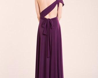 Purple party dress, aubergine infinity dress, event dress, eggplant bridesmaid dress, convertible versatile gown, asymmetrical long dress