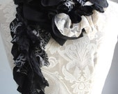 SALE - Patchwork petal scarf by Fairytale13 - black and cream stripe, lace and print mix - handmade in the Uk.
