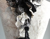 SALE - Patchwork petal scarf by Fairytale13 - black and cream, taupe, gold, stripe, lace and print mix - handmade in the Uk.
