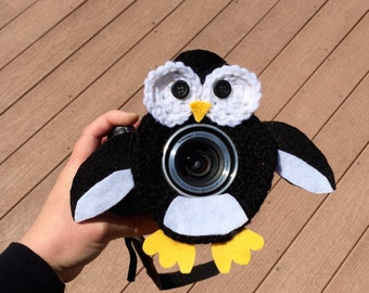 Penguin Camera lens buddy,Crochet camera critter,Camera lens animal, Photographer gift,Crochet lens buddy