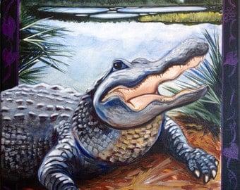 Alligator (acrylic painting,, bayou, swamp, louisiana, gulf coast, gulf of mexico, florida, coastal, southern wild, wild, reptile)