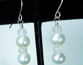 White Freshwater Pearl and Blue Flash Moonstone Drop Earrings