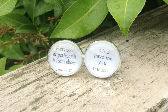Groom Cufflinks, Bible Scripture, God Gave me you