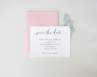 Fancy Script Wedding Save the Date Card and Envelope Set Simple and Elegant Design