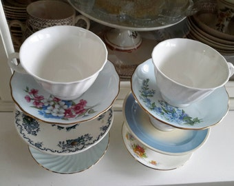 Beautiful Blue Pattern Vintage Tea Cups Set of six