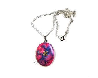 Personalized Lockets Brass Letters Inlaid in Fuchsia and Turquoise Hand Painted Enamel with Sterling Silver Chain Custom Colors Available