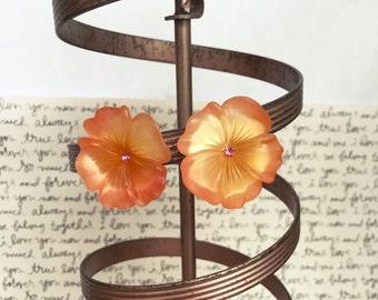 Hibiscus Flower Earrings, Pink Rhinestone Earrings, Rhinestone Flower Earrings, Peach Flower Earrings, Clip On Earrings, Summertime Earrings