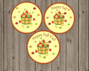 Fall Favor Tag, Autumn Favor Tag, Happy Fall Y'all Tag, Thanksgiving Favor Tag