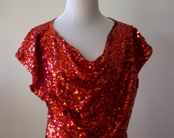 Vintage 1980s Red Sequence Top/ Sparkle/ Formal or Fun