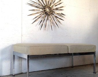 """WEEKEND SALE! Vintage Knoll Steelcase (attrb) chrome bench Mid Century Modern bench, 46.25"""" Chrome Upholstered bench Eames Era"""