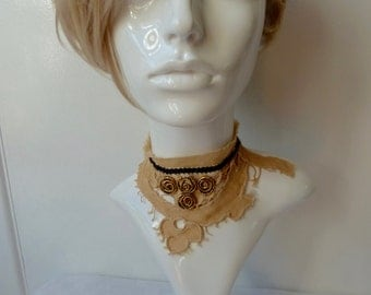 Original Boho, Arty Deconstructed, Antique Lace Neckie, Dickie, Choker, Rustic, Assymetric, OOAK, Upcycled, Designer Neckwear