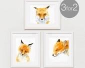 Fox Print Set, Fox Watercolor Print, Foxes Prints, Fox Wall Art - 3 for the price of 2