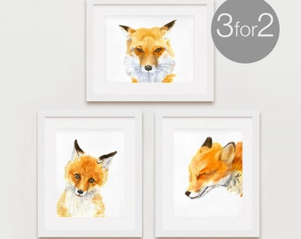 Fox Print Set, Fox Watercolor Print, Foxes Prints, Fox Wall Art - 3 for the price of 2