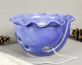 Ceramic Yarn Bowl, Knitting Bowl, Craft tool, diy Wheel thrown Light Frothy Blue modern BlueRoomPottery MADE TO ORDER