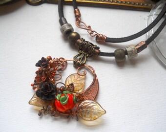 Roses and Pumpkins, a Sculptural Copper Harvest Necklace