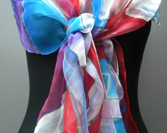 Blue red white tricolore scarf. Hand painted abstract chiffon scarf in red, blue, white, and purple with elegant design. OOAK gift for her