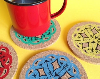 Bandana Screen Printed Coaster Set - Drinks Coasters