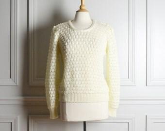 Sweater Loose Popcorn Knit / Cream Off White / Fall Boho Mod / 70s Vintage / Medium M