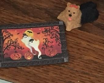 Miniature Halloween Ghosts Welcome Mat Rug, Dollhouse Miniature, 1:12 Scale, Dollhouse Accessory, Decor, Holiday Mat, Door Mat, Mini Rug