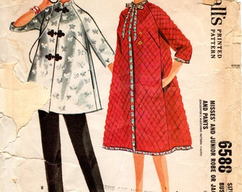 1960s Robe or Lounge Clothing Pattern - Vintage McCall's 6588 - Bust 33
