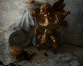 Cherub Angel Accent .Victorian Gold. Shabby Cottage Romance Decor.  Vintage Angel w Violin. French chic Collection. Valentine Cupid