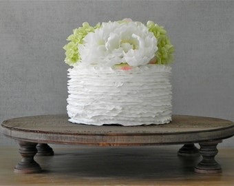 "20"" Rustic Wedding Cake Stand Rustic Country Wooden Groom Cake Stand Cake Topper E. Isabella Designs Featured In Martha Stewart Weddings"