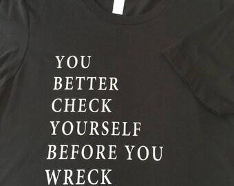 Womens Screen Printed Tshirt Check Yourself