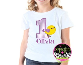 Personalized Little Bird Birthday shirt