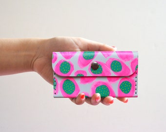 Neon Pink Leather Wallet, Hot Pink Pattern Coin Purse, Custom Wallet, Small Bag, Abstract Art Bag, Leather Wallet, Business Card Holder