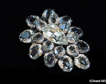 Art Deco Eisenberg Original Dress Clip Austrian Crystal & Rhinestone Open Back Setting