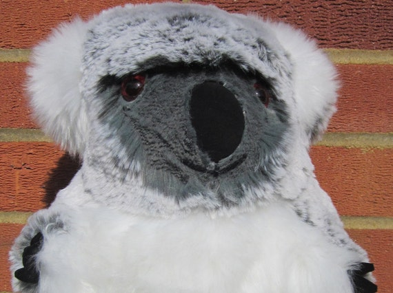 Large Koala Bear Keepsake Toy, Soft Cuddly Toy, Grey White Faux Fur, Stuffed Animal Toy, Boy Girl Toddler Gift, Adult Collectable Toy Gift.
