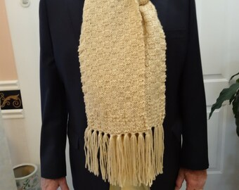 KNITTED BEIGE SCARF:Extra Long Scarf, unisex,8inches wide by 72 inches long with fringe, beige Scarf, wool blend, with 5inch[12mm] fringe