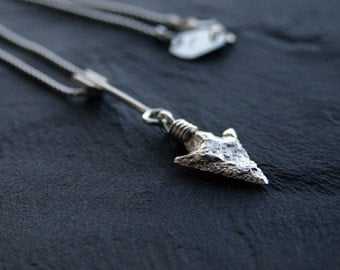 homage to ancient men: sterling silver necklace featuring a silver replica of an authentic prehistoric arrowhead