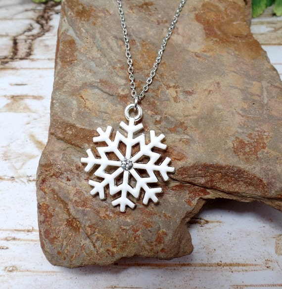 White Snowflake Necklace - Rhinestone Snowflake - Clearance - Christmas Necklace - Winter Necklace