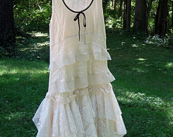 SM Cream Off White Ivory drop waist Flapper tattered wedding dress, boho bohemian hippie gypsy bride, US size 6-8, small, Lily Whitepad
