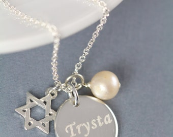 Bat Mitzvah Gift Idea, Star of David Necklace 925 Sterling Silver Engraved Jewelry