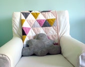 Modern Geometric Baby Quilt in Pink and Multi Color Triangles for Girls – Reversible